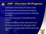 urp overview of progress