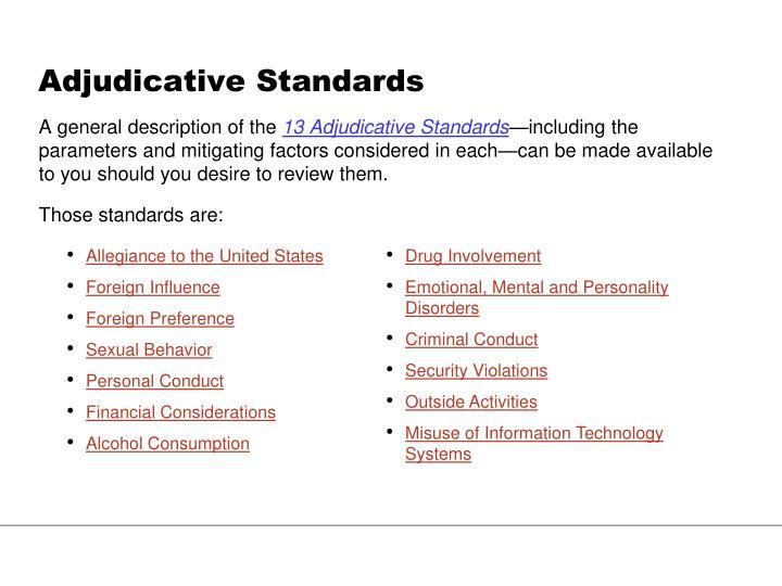 Adjudicative Standards