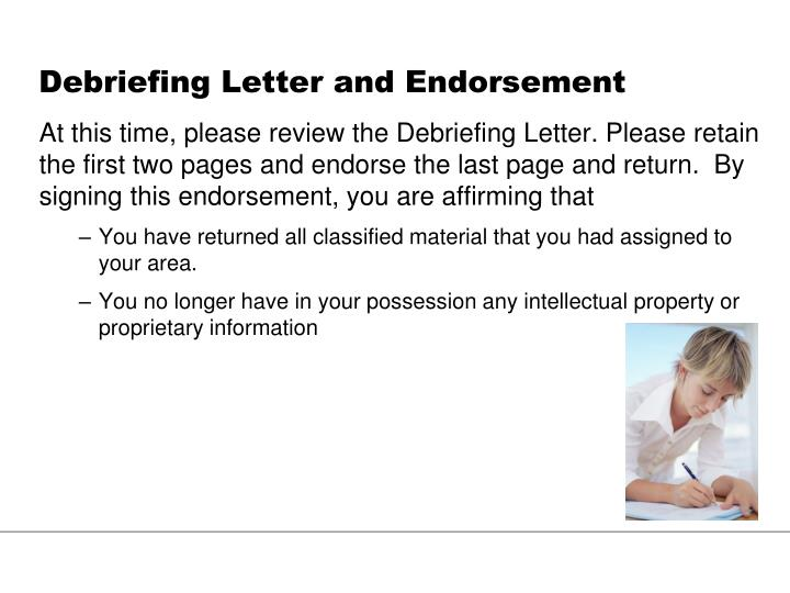Debriefing Letter and Endorsement