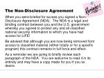 the non disclosure agreement