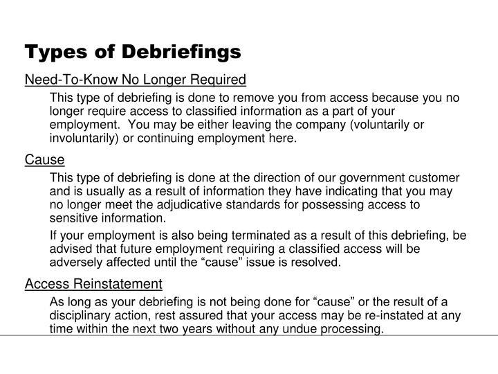 Types of Debriefings