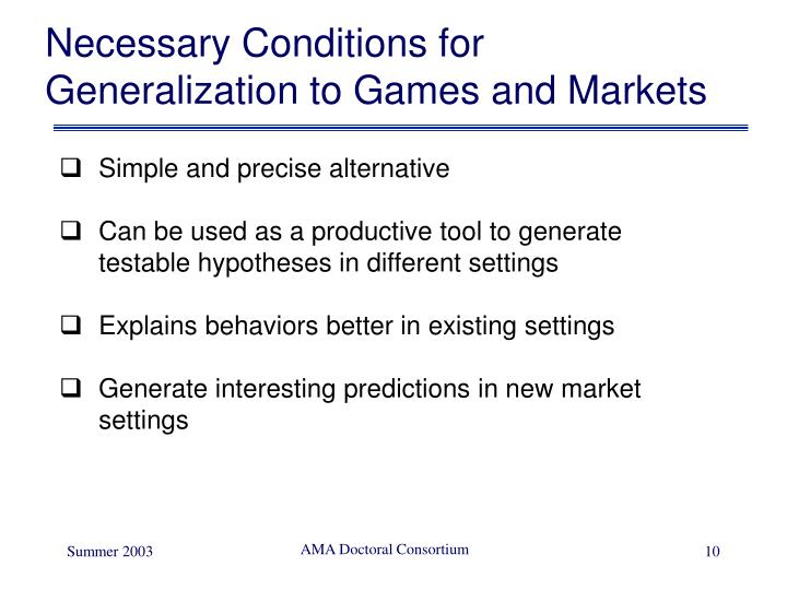 Necessary Conditions for Generalization to Games and Markets