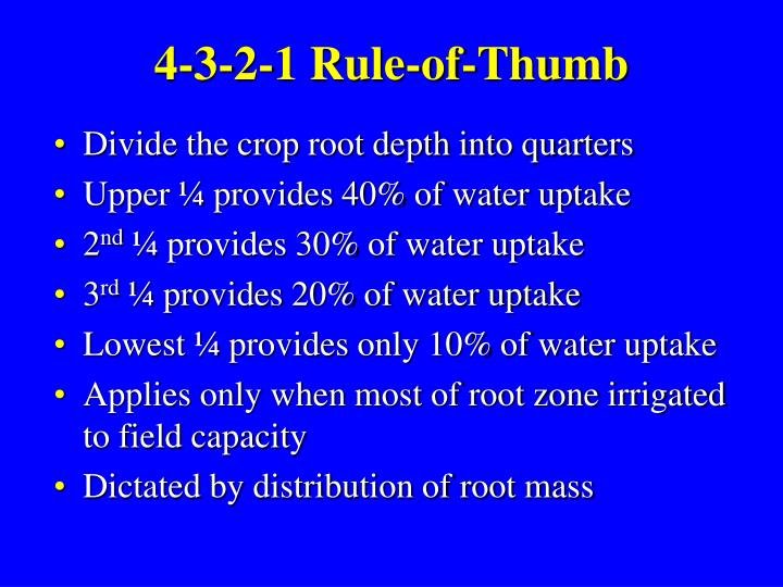 4-3-2-1 Rule-of-Thumb