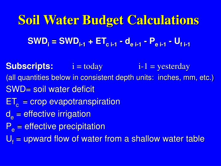 Soil Water Budget Calculations