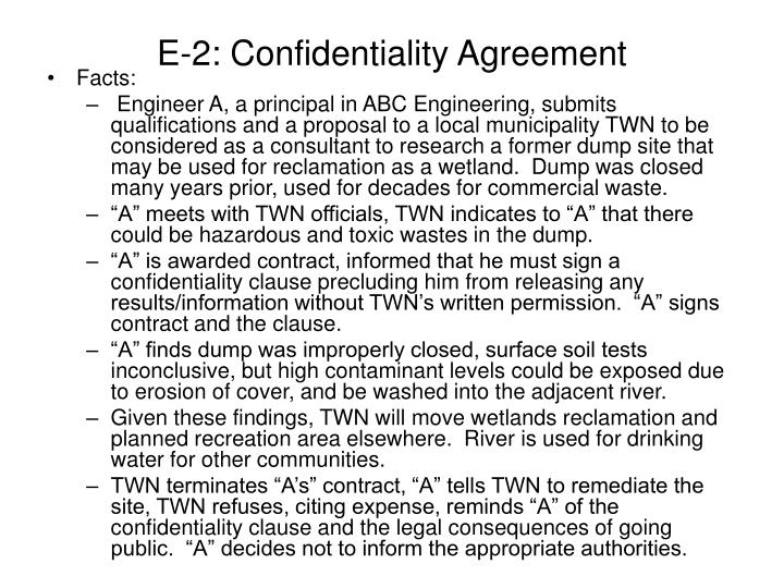 E-2: Confidentiality Agreement