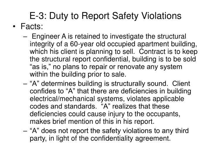 E-3: Duty to Report Safety Violations