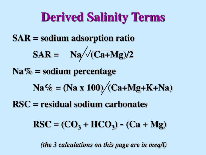 Derived Salinity Terms