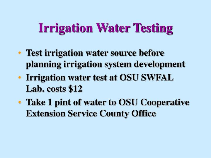 Irrigation Water Testing
