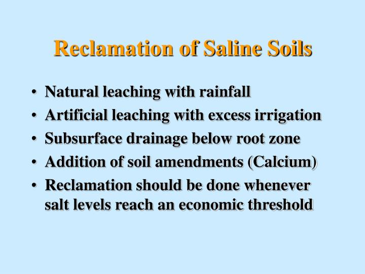 Reclamation of Saline Soils