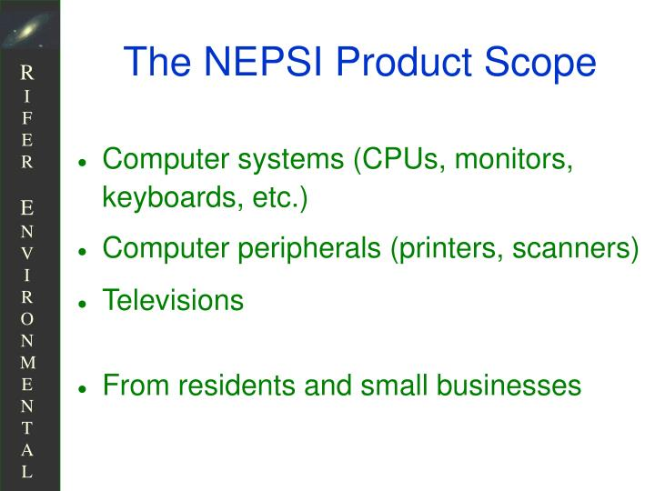 The NEPSI Product Scope