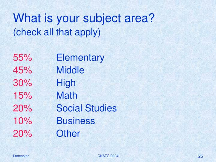 What is your subject area?