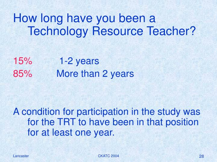 How long have you been a Technology Resource Teacher?