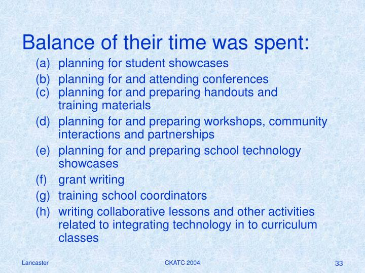 Balance of their time was spent: