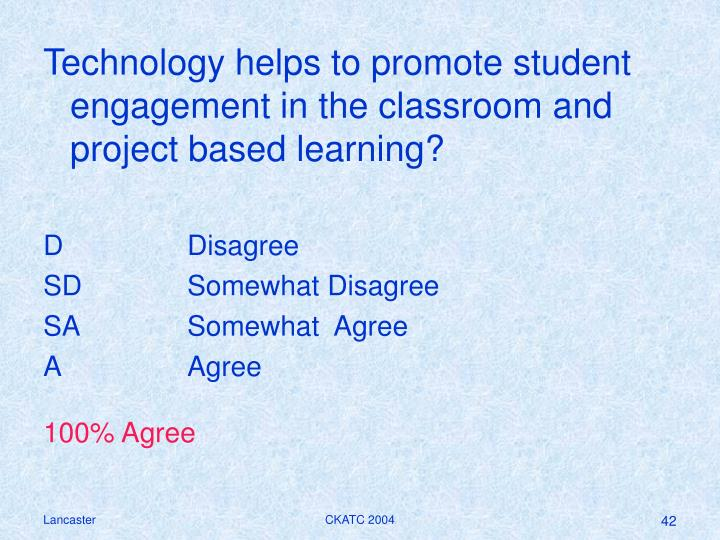 Technology helps to promote student engagement in the classroom and project based learning?