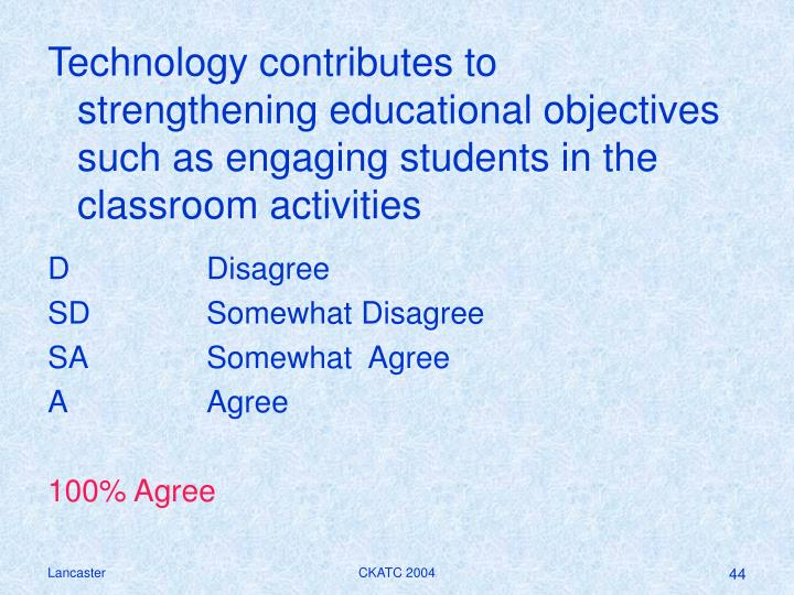 Technology contributes to strengthening educational objectives such as engaging students in the classroom activities