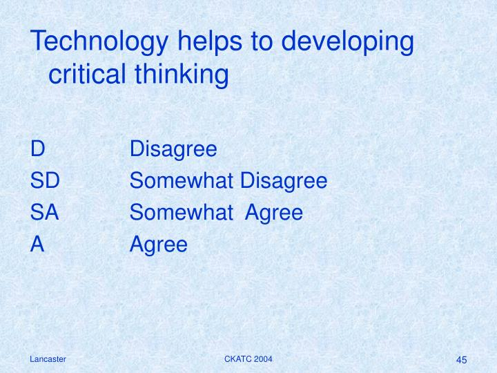Technology helps to developing critical thinking