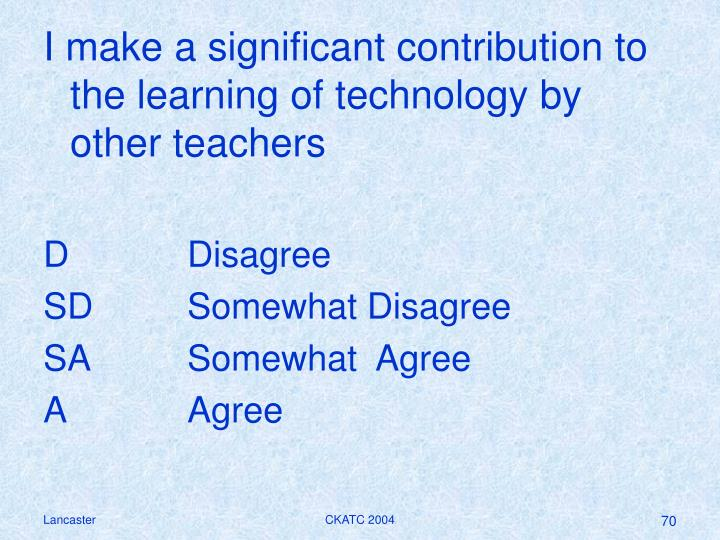 I make a significant contribution to the learning of technology by other teachers