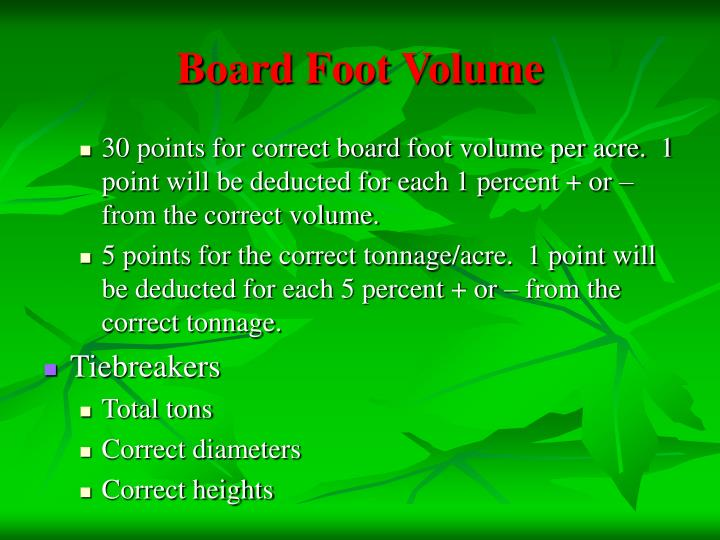 Board Foot Volume