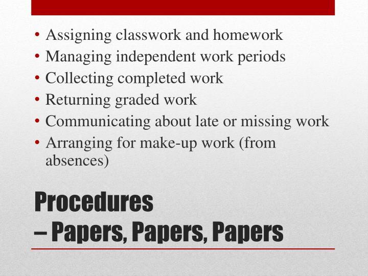Assigning classwork and homework