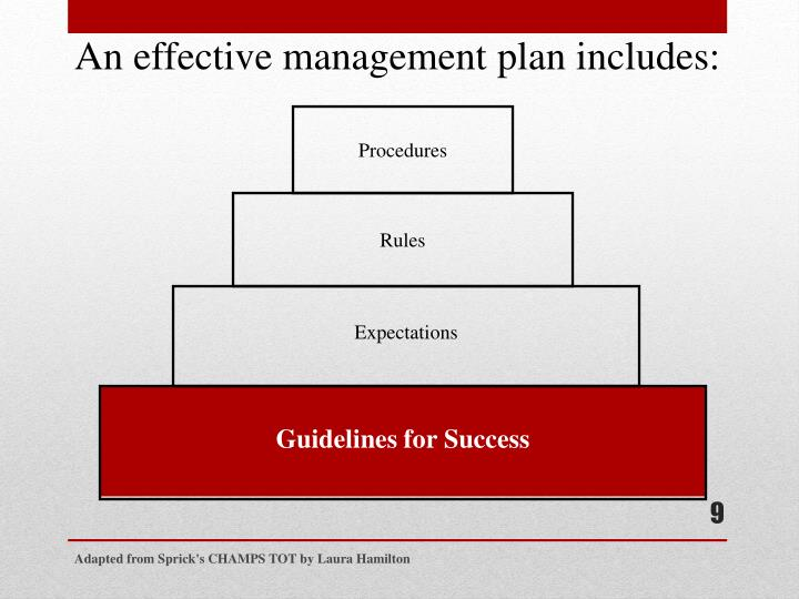 An effective management plan includes: