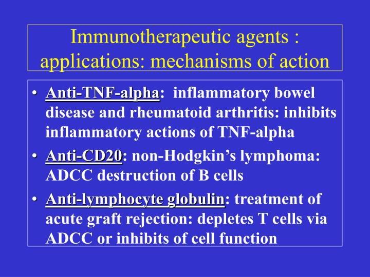 Immunotherapeutic agents : applications: mechanisms of action
