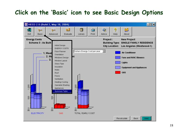 Click on the 'Basic' icon to see Basic Design Options
