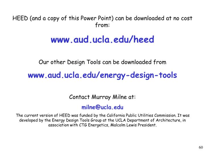 HEED (and a copy of this Power Point) can be downloaded at no cost from: