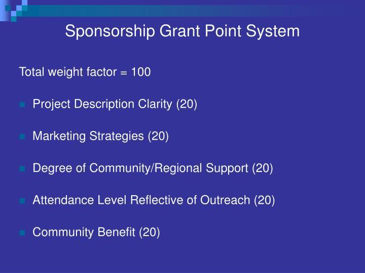 Sponsorship Grant Point System