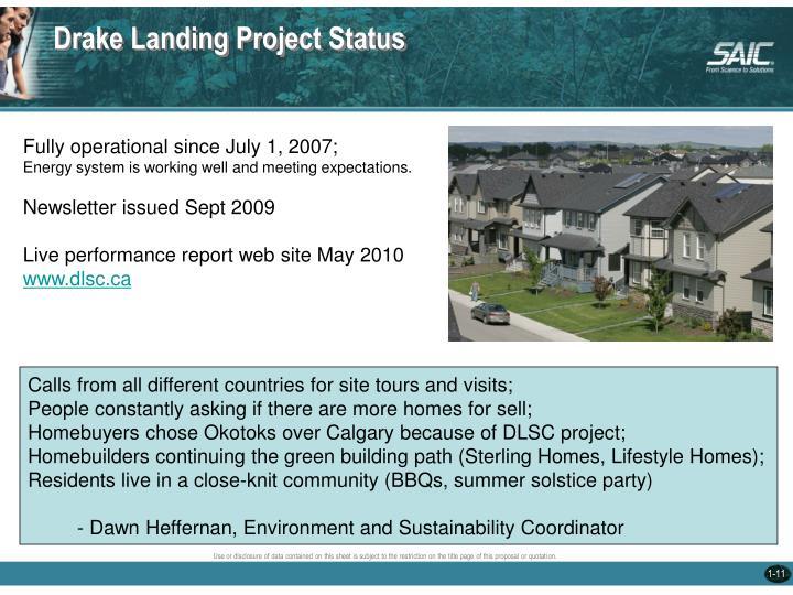 Drake Landing Project Status