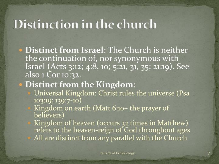 Distinction in the church