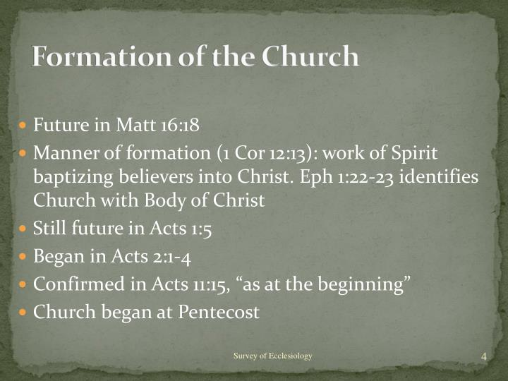 Formation of the Church