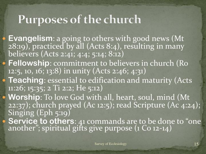 Purposes of the church
