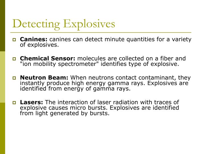 Detecting Explosives
