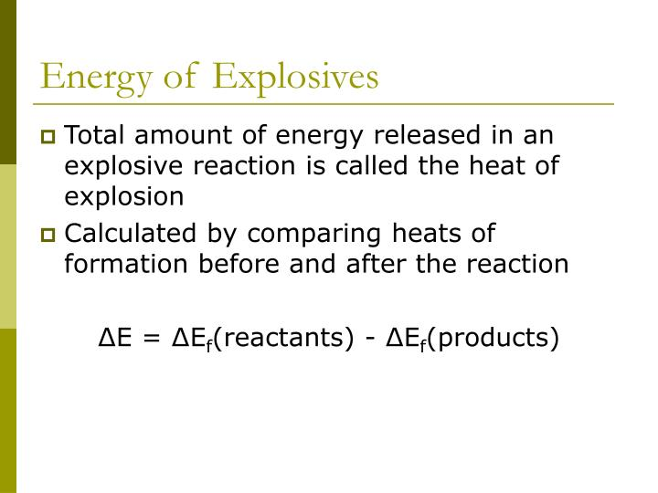 Energy of Explosives