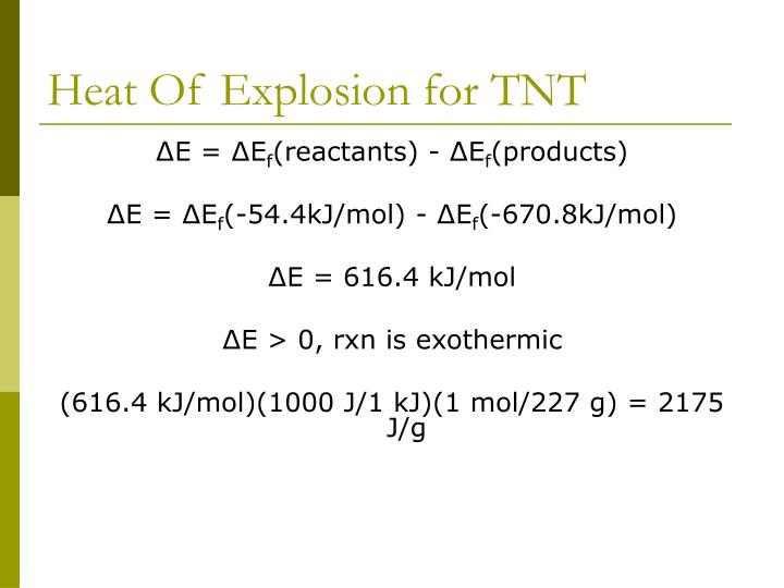 Heat Of Explosion for TNT