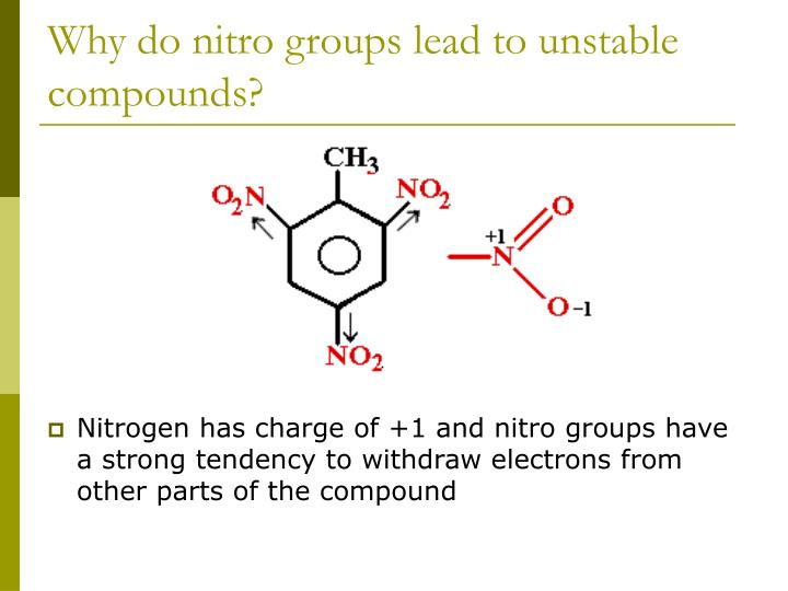 Why do nitro groups lead to unstable compounds?