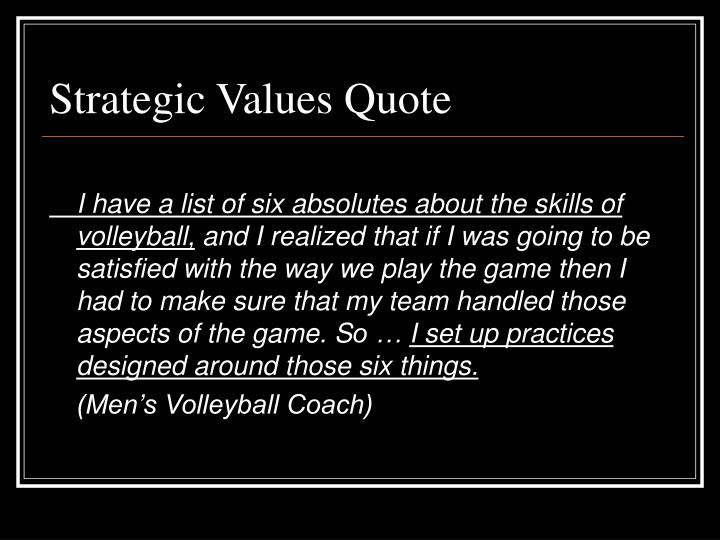 Strategic Values Quote