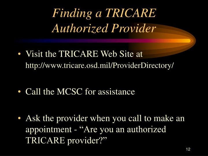 Finding a TRICARE