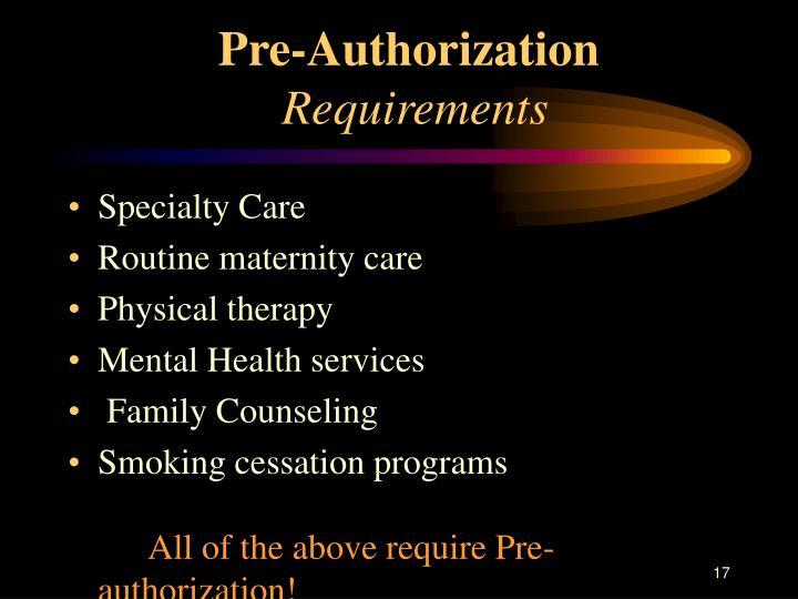 Pre-Authorization