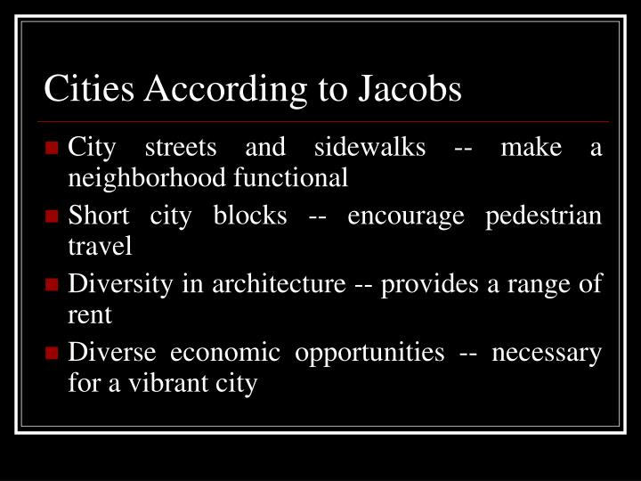 Cities According to Jacobs