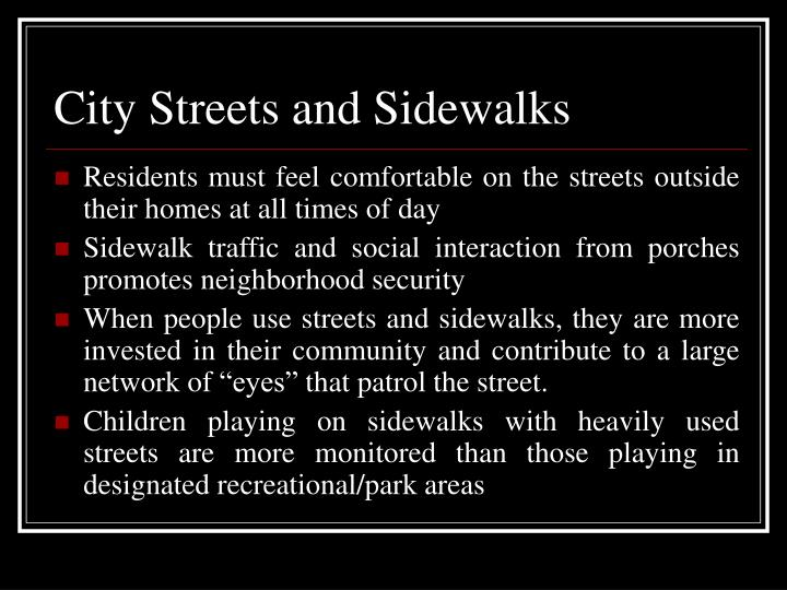 City Streets and Sidewalks