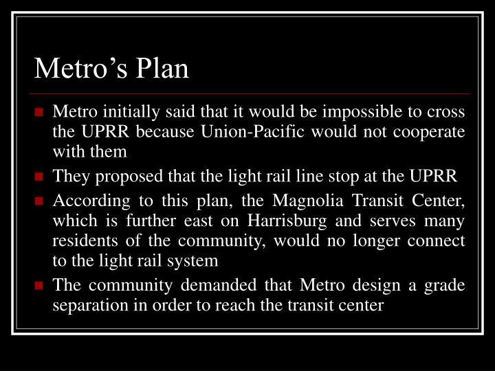 Metro's Plan