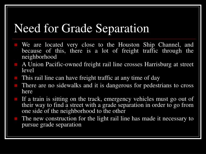 Need for Grade Separation