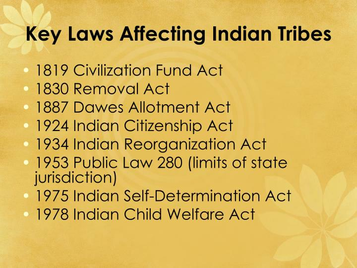 Key Laws Affecting Indian Tribes