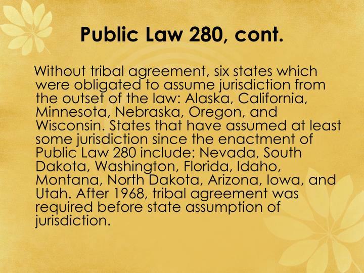 Public Law 280, cont.