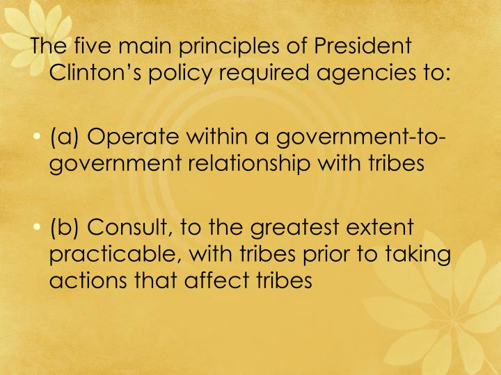 The five main principles of President Clinton's policy required agencies to: