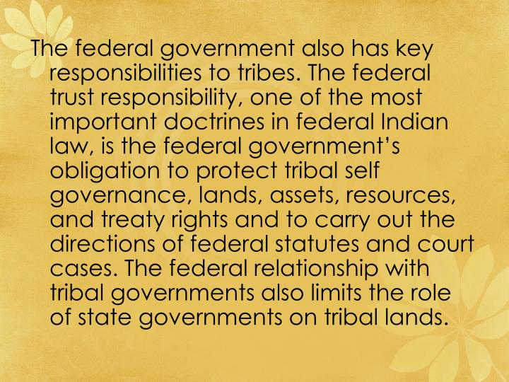 The federal government also has key responsibilities to tribes. The federal trust responsibility, one of the most important doctrines in federal Indian law, is the federal government's obligation to protect tribal self governance, lands, assets, resources, and treaty rights and to carry out the directions of federal statutes and court cases. The federal relationship with tribal governments also limits the role of state governments on tribal lands.