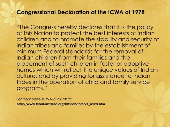 Congressional Declaration of the ICWA of 1978