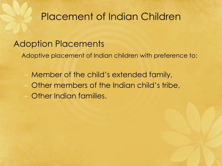 Placement of Indian Children