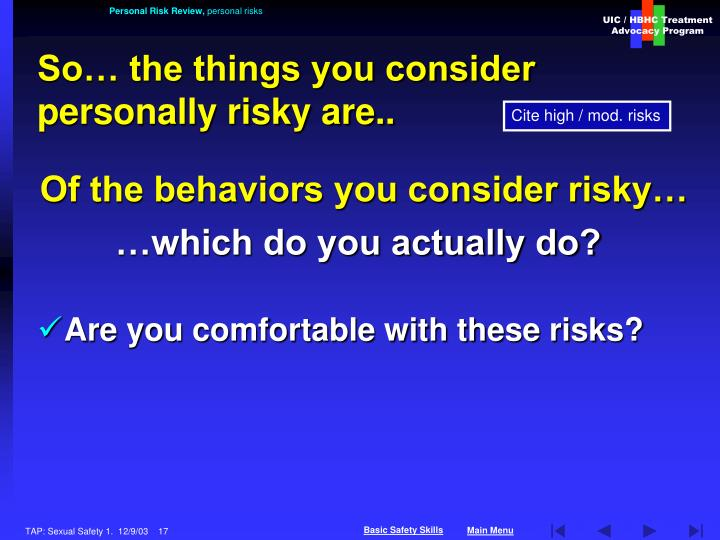 Personal Risk Review,